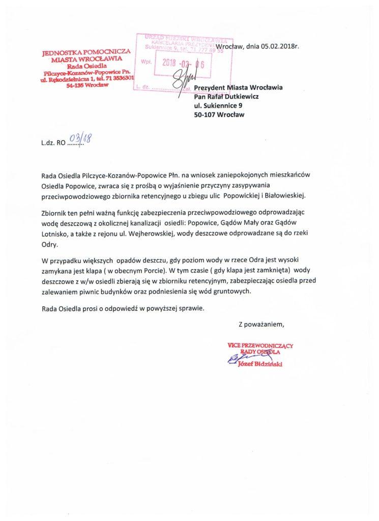 Pismo ws. zbiornika przeciwpowodziowego